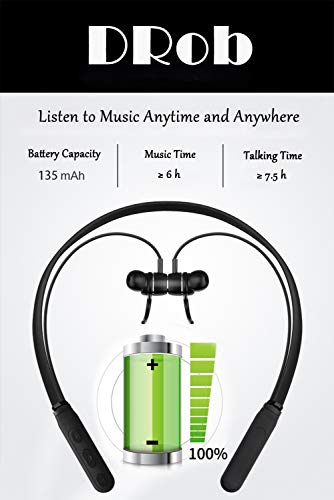 DRob Wireless Bluetooth Headphones Wireless SoundBuds Bluetooth 4.2 High Sports Earphones, Workout Earbuds,Noise Cancellation, Carry Pouch Ergonomic Running Earphones by DRob (Image #4)
