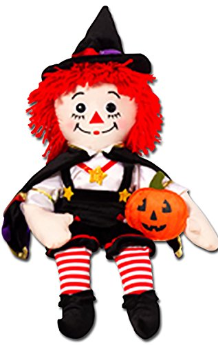 Halloween Raggedy Andy Warlock Rag Doll with Pumpkin and Spider -