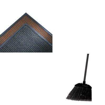Super Soaker Indoor Wiper (KITCWNSSR310CHRCP637400BLA - Value Kit - Crown Mats SS310CHA Super-Soaker Indoor Wiper/Scraper Mat, 36 x 120, Charcoal (CWNSSR310CH) and Rubbermaid-Black Brute Angled Lobby Broom (RCP637400BLA))