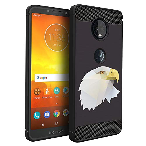 (CasesOnDeck Case Compatible with Motorola Moto G7 Power/Moto G7 Supra -Flexible and Durable Shock Absorption with Carbon Fiber Accents and Designs (Majestic Eagle) )