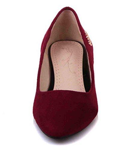 Easemax Donna Trendy Scarpe A Punta Tacco Medio Slip-on Tacco Medio Rosso