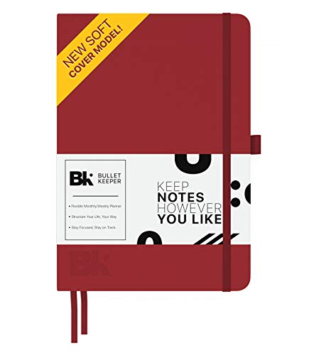 Bullet Keeper Undated Planner - Daily Weekly Monthly Calendar. Flexible Structure A5 (5.8 x 8.3) Dot Grid Notebook. 52 Week Journal w Pen Holder, 2 Bookmarks, Elastic Closure. Softcover ()