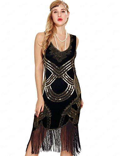 Flapper Cocktail (Uniq Sense Women's Retro Art Deco Great Gatsby Dresses- Vintage Sequin Fringed Cocktail Flapper Dresses (M, Black Gold))
