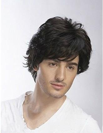 [Fluffy male hair spring short wig guy handsome rose fiber high temperature wire hair nets] (Guy Cheerleader Costumes)