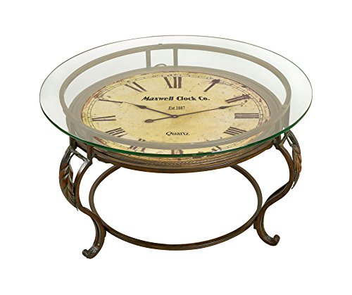 Aspire Cocktail Table with Clock, Reddish/Brown