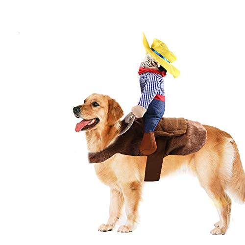 SEIS Pet Riding Costume Novelty Pet Supplies Cowboy Rider Horse Riding Designed Dog Apparel Party Dressing up Clothing…