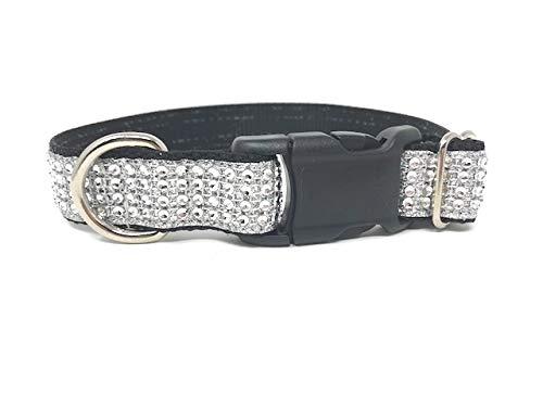 Black and White, Rhinestone, Glitter, Dog Collar, Girls, Female, Boys, Male, Fancy, Bling, Sparkly (XL 1″ W X 17-26)