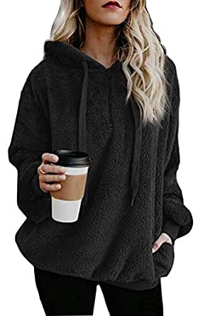 ReachMe Women's Oversized Sherpa Pullover Hoodie with Pockets 1/4 Zip Sweatshirt(Black,Small)