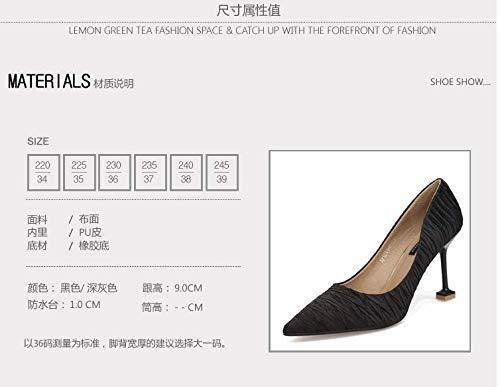 Sharp Nightclub High Shoes And Hair Shallow 9Cm Fashion Sexy Spring Heeled Cat Pointed Grey Shoes SFSYDDY Rq8HwC