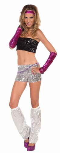 Forum Club Dazzle Sequin Mini-Shorts, Silver, One Size (Wonder Woman Costume Shorts)