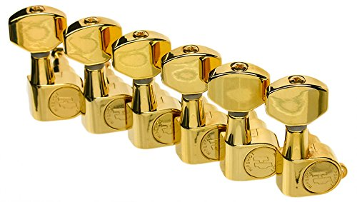 Hipshot Classic Enclosed-Gear Guitar Tuners, 6-inline Gold, Non-Staggered with UMP - Gear Enclosed
