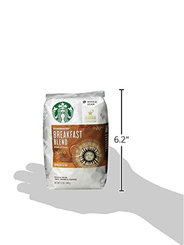 Starbucks Breakfast Blend Medium Roast Whole Bean Coffee, 12-Ounce Bag