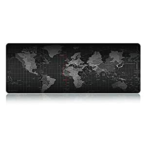 """LIEBIRDExtended Xxl Gaming Mouse Pad - Portable Large Desk Pad - Non-slip Rubber Base (World Map 31.5""""x11.8""""x2.5mm)"""