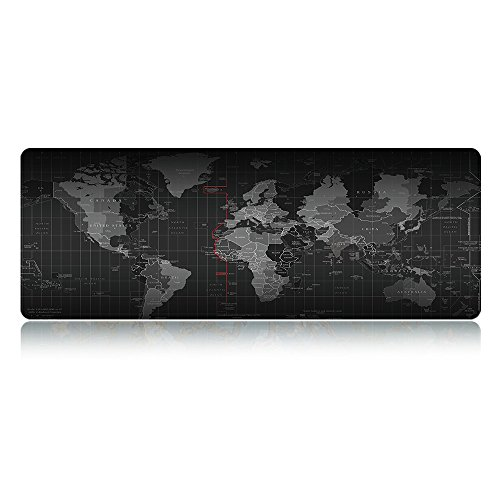 LIEBIRDExtended Xxl Gaming Mouse Pad - Portable Large Desk Pad - Non-slip Rubber Base (World Map 31.5'x11.8'x2.5mm)