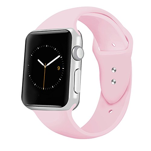 iGK Sport Band Compatible for Apple Watch 38mm, Soft Silicone Sport Strap Replacement Bands Compatible for iWatch Apple Watch Series 3, Series 2, Series 1 38mm Pink Sand Small
