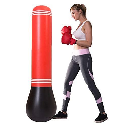 Stronrive 59.06in Saco de Boxeo Pesado Inflable, Saco De Boxeo De Pie para Niños, Vaso De Columna Inflable De PVC para Niños, Accesorios De Fitness ...
