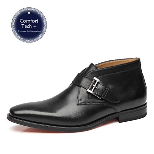La Milano Mens Winter Ankle Dress Boots Slip on Monk Strap Buckle Comfortable Chukka Plain Toe Leather Oxford Boots for Men