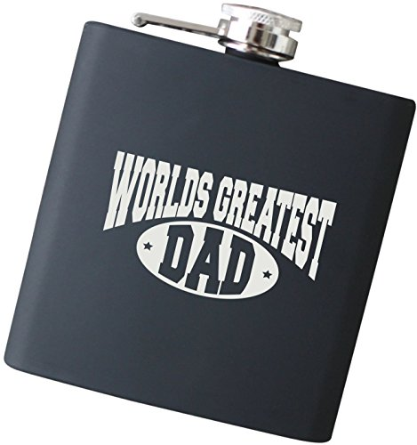 Worlds Greatest Dad Engraved Black Hip Flask - Perfect Christmas Gift for Dad, Father of the Bride and Groom, Father's Day Present - F17.NC