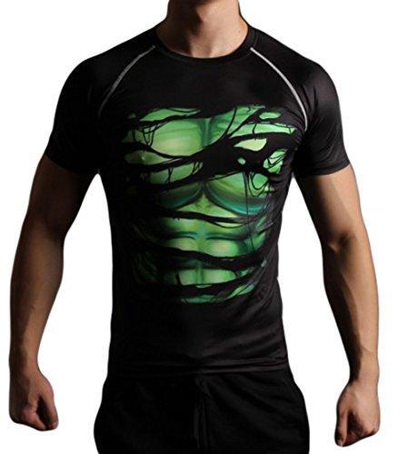 L&H Men's Super Hero Digi Camo Sweet-free Quick-dry Compression Shirt Basketball Shirt Riding Shirt Tight Shirt Long sleeve shirt l -