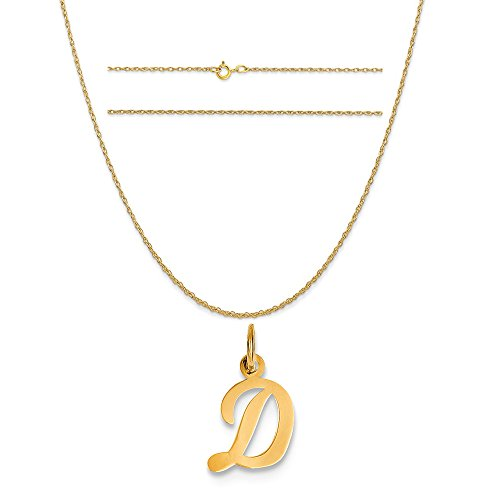 14k Yellow Gold Small Script Initial D Charm on a 14K Yellow Gold Carded Rope Chain Necklace, - Gold D&g