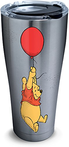 Tervis 1290863 Disney-Winnie the Pooh Balloons Tumbler with Clear and Black Hammer Lid, 30 oz Stainless Steel, Silver