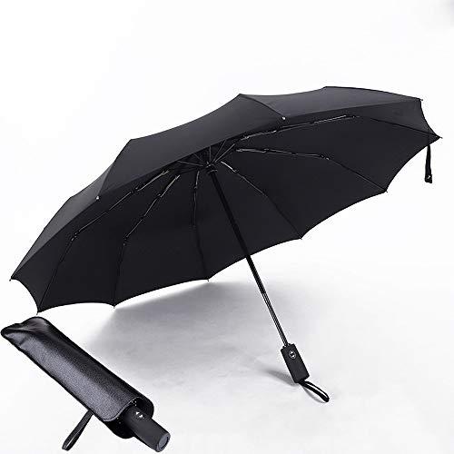 Windproof Travel Umbrella,10 Ribs Auto Open Close,UV Sun&Rain,Automatic Folding Umbrella with Leather Cover(Black)