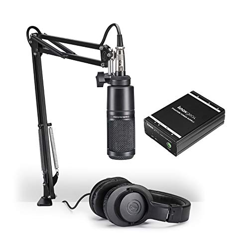 (Audio-Technica AT2020PK Vocal Microphone Streaming and Podcasting Pack with Knox Gear Portable Phantom Power Supply)