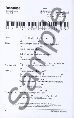 Piano Chord Songbook Taylor Swift Sheet Music For Lyrics Piano