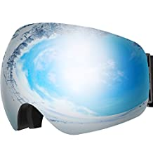 OMorc Ski Goggles Anti-Fog & 100% UV400 Protection OTG Snowboard Goggles, Big Spherical Dual Lens Snowmobile Ski Glasses For Men, Women, Adult & Youth, Winter Snow Skate Motorcycle Bicycle - Grey