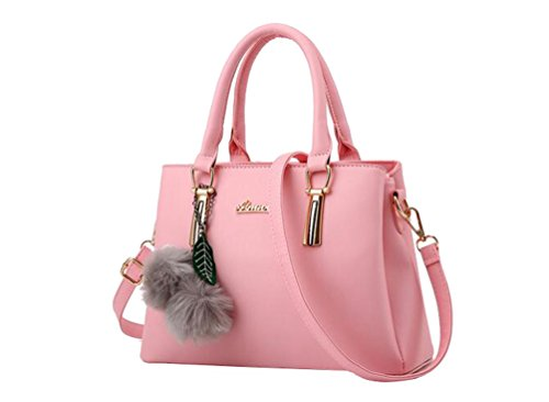 Leather Strap Yaancun With Women Shoulder Handbag Pink Faux nnIgzpq