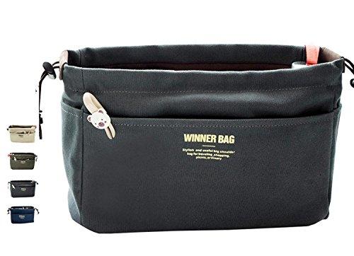 LIKU Canvas Handbag Organizers, Multi-Pocket Purse Insert Organizer Bag in Bag (Canvas Organizer)