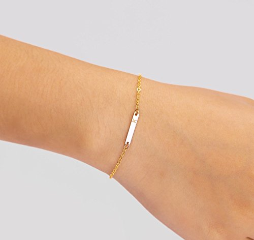 Personalized Tiny Horizontal Rectangle Skinny Bar Name Bracelet, Simple Delicate Mothers Jewelry in 14K Rose Gold fill or 14K Gold fill or 925 Sterling Silver