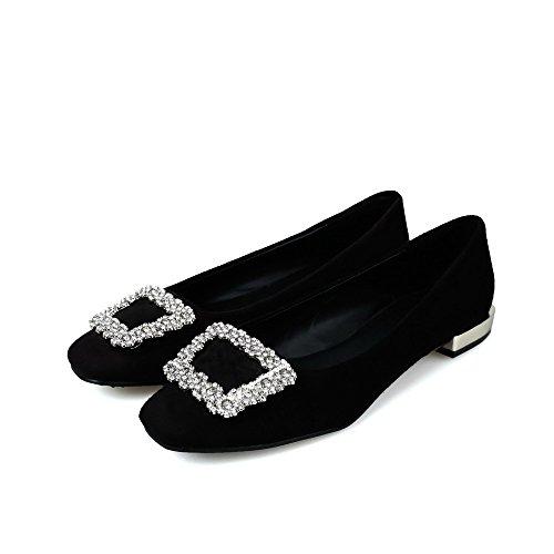 Allhqfashion Mujer's Imitated Suede Low Heels Square Cerrado Dedo Del Pie Sólido Pull-pumps-Zapatos Negro