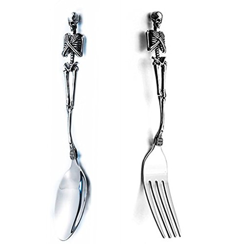 LOYEH Stainless Steel Skeleton Skull Spoon and Fork Flatware Tableware Design Modern Look Great Gifts For Halloween Easter and Christmas (Spoon & -