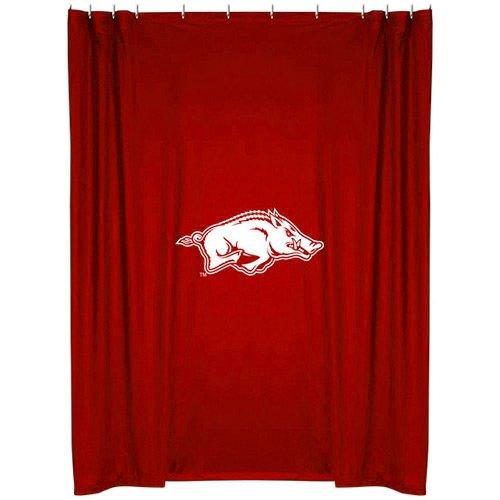 Arkansas Razorbacks Shower Curtain - NCAA College Sports Logo Polyester Jersey Shower Curtain