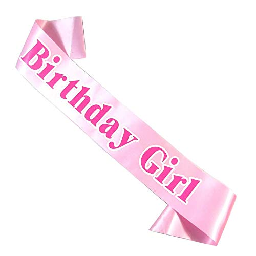 (Birthday Girl Pretty Pink Satin Sash for Women - Fashionable and Fun Birthday Gifts and Party Favors)