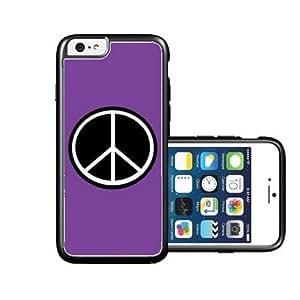 RCGrafix Brand Peace Purple Plain Black iPhone 6 Case - Fits NEW Apple iPhone 6