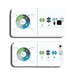 Set of puzzle pieces jigsaw business infographics concept vector cell phone cover case iPhone6