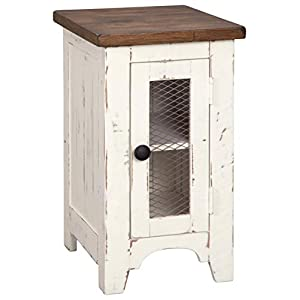 Signature Design by Ashley - Wystfield Farmhouse Chairside End Table, White/Brown