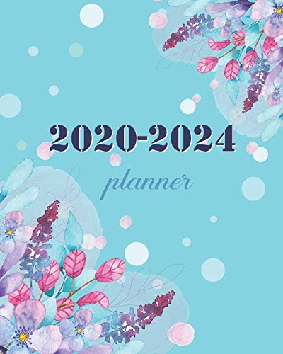 2020-2024 Planner: Blue Green Floral , 60 Month Calendar Planner Agenda with Holidays