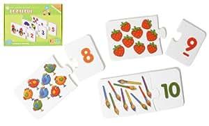MGM 140380 - Puzzle para aprender a contar (madera, 29 x 21 x 5 cm), diseño con números y figuras