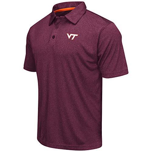 - Colosseum Men's NCAA Heathered Trend-Setter Golf/Polo Shirt-Virginia Tech Hokies-Heathered Maroon-XXL