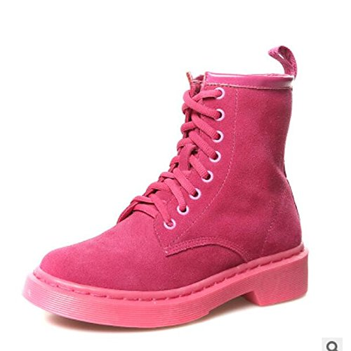 HSXZ Zapatos de Mujer Otoño Invierno PU Confort botas de tacón Chunky Round Toe botines/botines de Casual Negro Fucsia Fuchsia