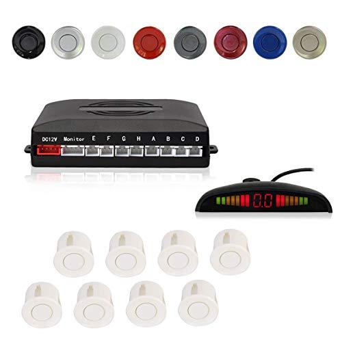(EKYLIN Car Reverse Parking Radar System with 8 Parking Sensors Distance Detection + LED Distance Display + Sound Warning (White Color))