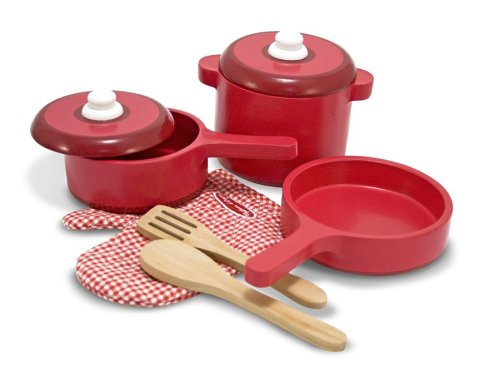 Melissa & Doug Deluxe Wooden Kitchen Accessory Set - Pots & Pans (8 pcs) (Kitchen Equip)