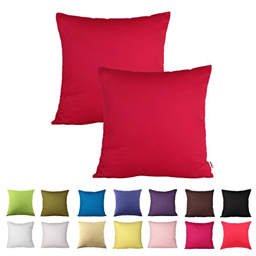 Queenie - 2 Pcs Solid Color Cotton Decorative Pillowcase Cushion Cover for Sofa Throw Pillow Case Available in 14 Colors & 5 Sizes (16 x 16 inch (40 x 40 cm), Red)