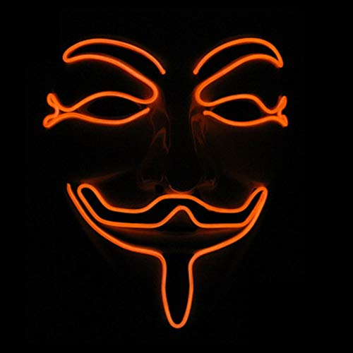 V for Vendetta Guy Fawkes LED Anonymous Rave Scary Mask EL Wire for Halloween Party (Orange) -