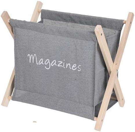 Koopp Toile Pliable Porte-revues Porte-journaux Bois