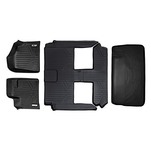 SMARTLINER Floor Mats 3 Rows and Cargo Liner Behind 3rd Row Set Black for 2008-2018 Caravan / Town & Country (Stow