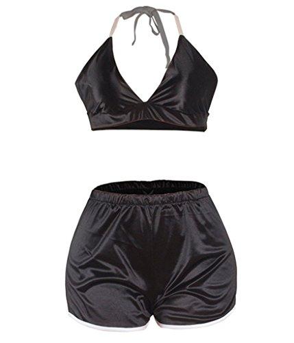 Sexy serico Sleepwear Halter Choose 2pc Nero raso Women Pajamas CqUIUZ5w